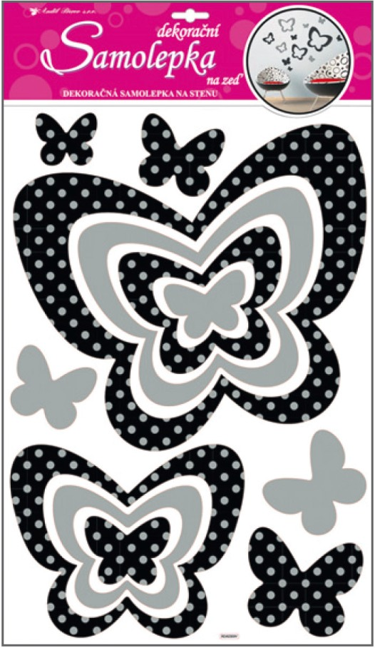 AP Samolepky na zeď motýli se stříbrnými glitrovými puntíky 60x32cm