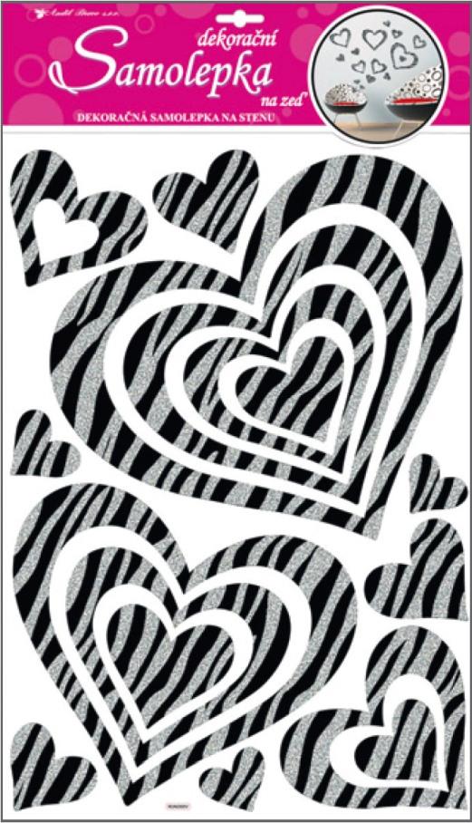 Anděl Přerov Samolepky na zeď srdce se stříbrnými glitrovými pruhy 60x32cm
