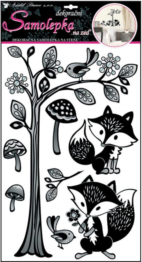 Anděl Přerov Samolepky na zeď strom s liškami 60x32cm