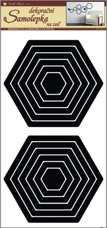 Anděl Přerov Samolepky na zeď šestiúhelník černý 2 sady 69x32cm