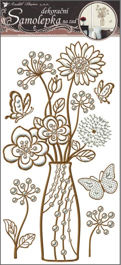 Anděl Přerov Samolepky na zeď váza s perletí a měděnou konturou 69x32cm