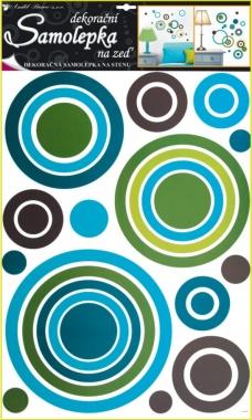 Samolepky na zeď modré kruhy 70x42cm