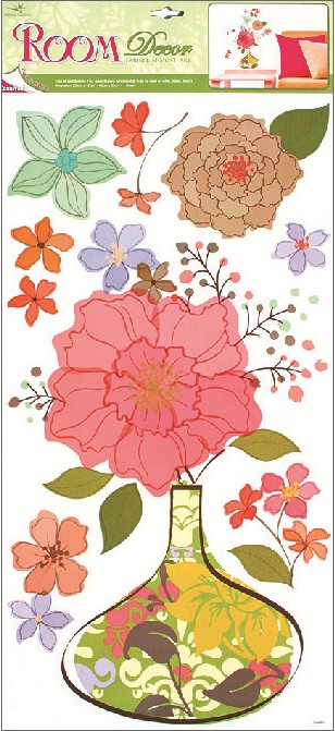 Samolepky na zeď květovaná váza 69x32cm