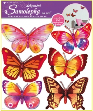 AP Samolepky na zeď žlutí a růžoví motýlci hologram 39x30cm