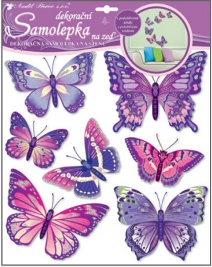 Samolepky na zeď fialoví motýli 38x31cm