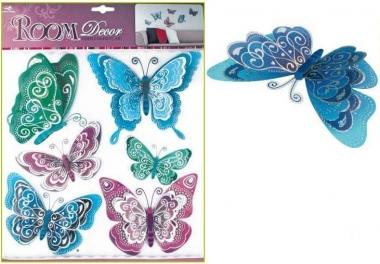 AP Samolepky na zeď modrofialoví motýli s hologramem 39x30cm