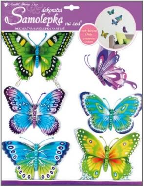 Anděl Přerov Samolepky na zeď modrozelení motýli s pohyblivými křídly 30x30cm