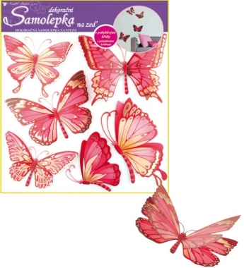 AP Samolepky na zeď růžoví motýli s pohyblivými křídly 39x30cm