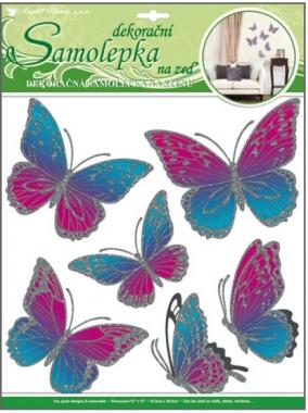 AP Samolepky na zeď růžovomodří motýli s pohyblivými stříbrnými křídly 39x30cm