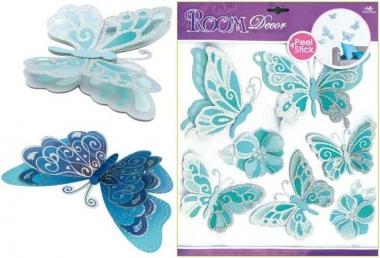 Samolepky na zeď světle modří motýli se stříbrnými glitry 39x30cm