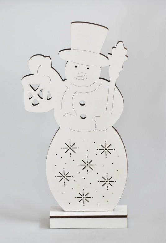 Harasim Svítící vánoční sněhulák | dřevěný Barva: bílá