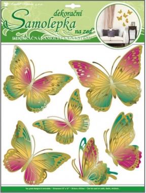 Anděl Přerov Samolepky na zeď zeleno oranžový motýli s pohyblivými zlatými křídly 39x30cm