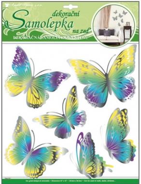Samolepky na zeď žluto modří motýli s pohyblivými stříbrnými křídly 39x30cm