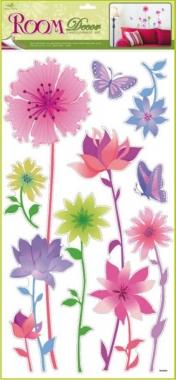 AP Samolepky na zeď s velkou růžovou květinou 69x30cm
