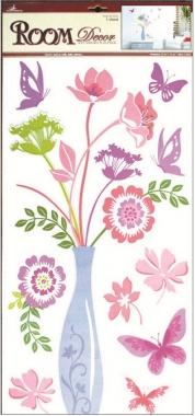 Samolepky na zeď váza s květinami a motýly 69x32cm