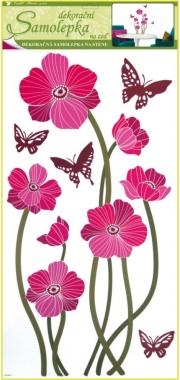 AP Samolepky na zeď růžové vlčí máky s motýly 69x30cm