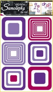 Samolepky na zeď fialové čtverce 70x42cm