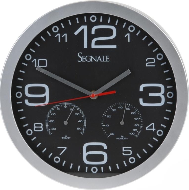 HR Nástěnné hodiny s teploměrem a vlhkoměrem 30 cm, černé Barva: černá