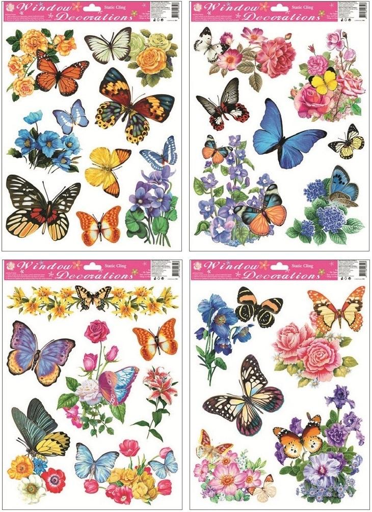 Anděl Přerov Okenní fólie motýli s květy 42x30cm set 4ks