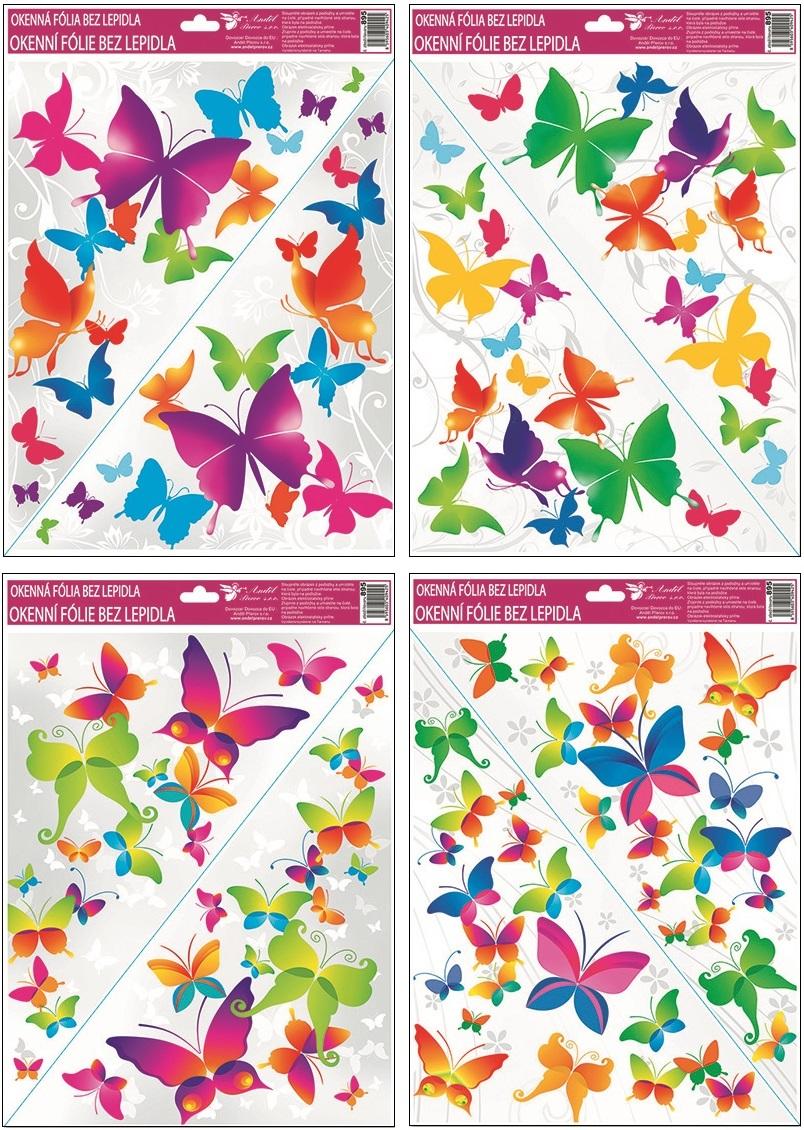 AP Okenní fólie rohová barevní motýlci 42x30cm I