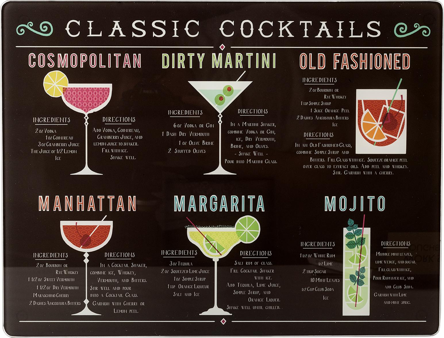 Creative Tops Skleněné krájecí prkénko Cocktails