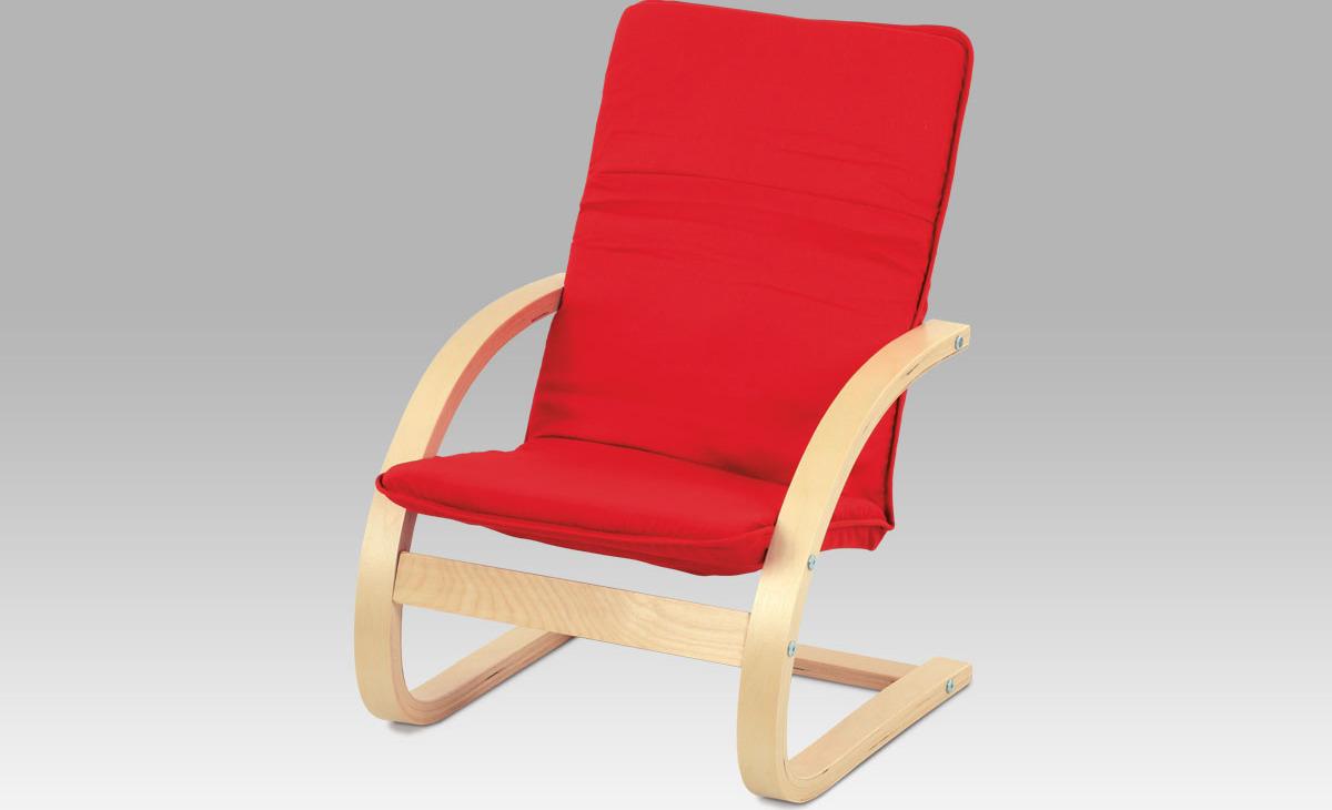 Autronic Dětské relax. křeslo | látka červená | přírodní | 38x30x64x28cm