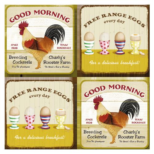 Nostalgic Art Podtácky Good Morning Rozměry: 10x10cm - 4ks, Kolekce: Cook & Food
