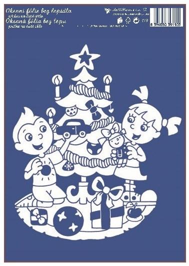 AP Okenní fólie bílá vánoční stromek 33x23cm