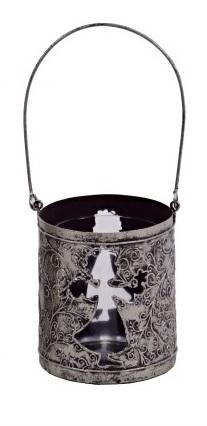 Svícen na čajovou svíčku anděl stříbrný 8x20cm