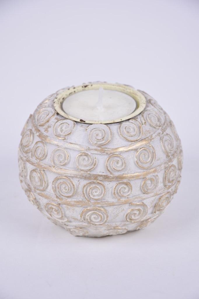 Svícen koule polystone na čajovou svíčku