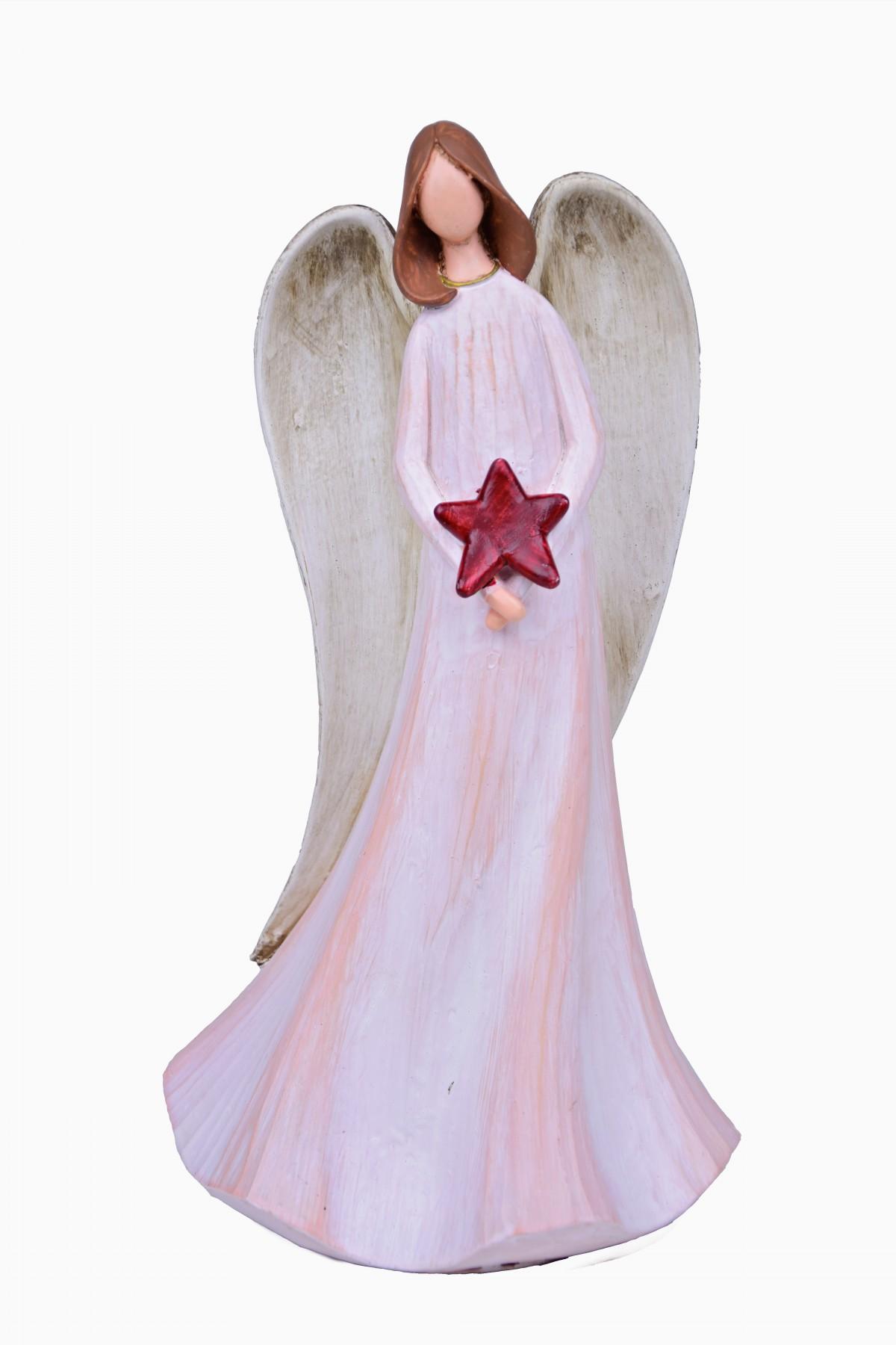 Anděl s dlouhými křídly hvězda velký 15x27x12cm