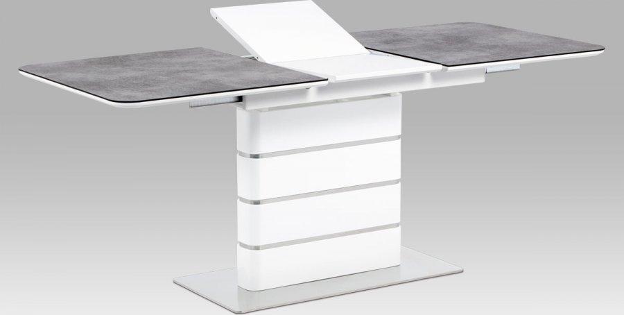 Jídelní stůl 140+40x80, šedé sklo/bílý vysoký lesk MDF/broušený nerez