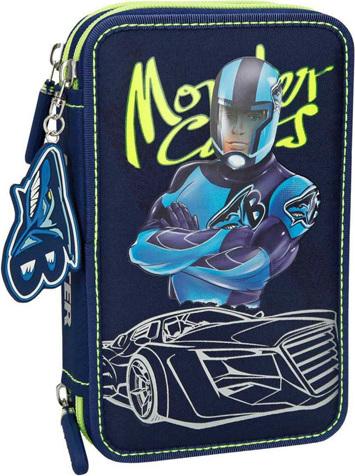 Penál s výbavou Monster Cars Ben, třípatrový
