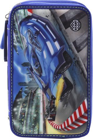 Penál s výbavou Monster Cars Závodní auta, třípatrový, s LED podsvícením