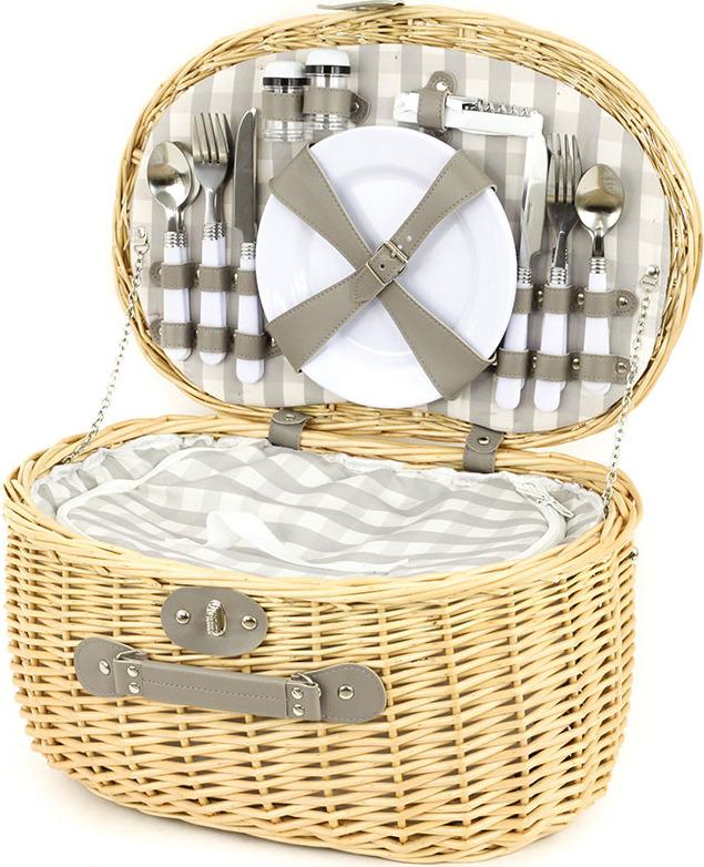 Piknikový koš z vrbového proutí s chladícím prostorem, vybavený pro 4 osoby