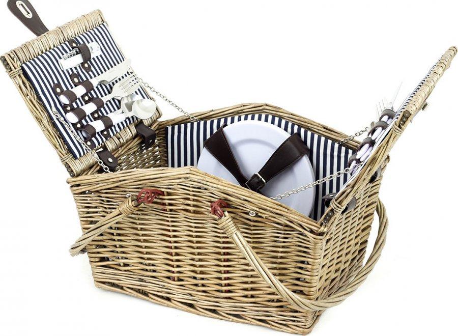 Piknikový koš z vrbového proutí, vybavený pro 4 osoby