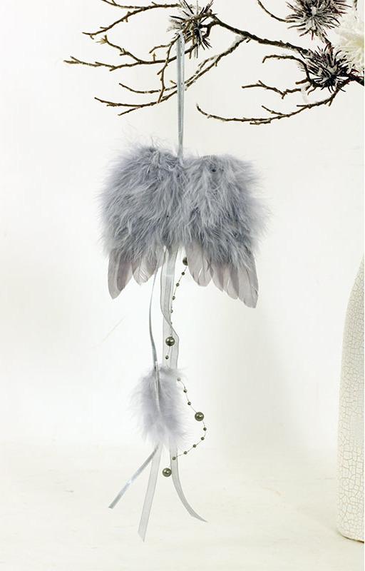 Andělská křídla z peří, barva šedá, baleno 12 ks v polybag. Cena za 1 ks.
