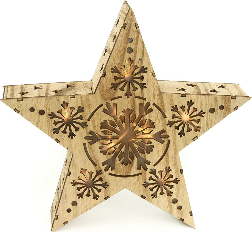 Hvězda, vánoční dřevěná dekorace s LED světlem