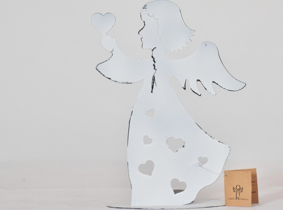 Harasim Svícen anděl bílý 21 cm