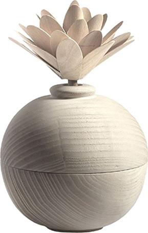 Dřevěný difuzér Millefiori Milano Air Design, s květinou/Bílá koule