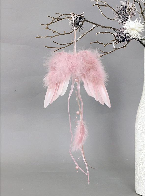 Andělská křídla z peří, barva růžová, baleno 6 ks v polybag. Cena za 1 ks.