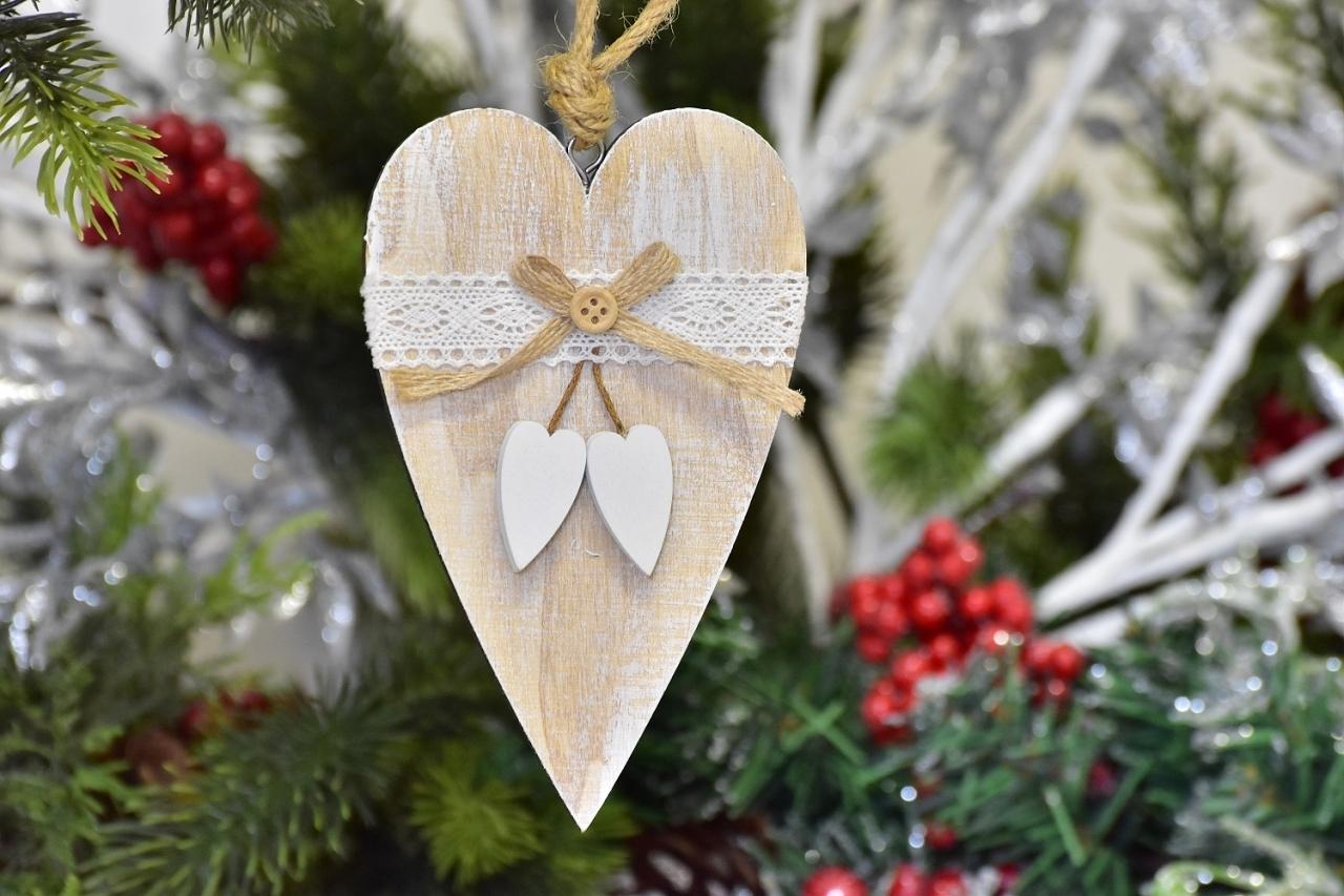 Harasim Dekorativní dřevěné srdíčko bílé 15 cm