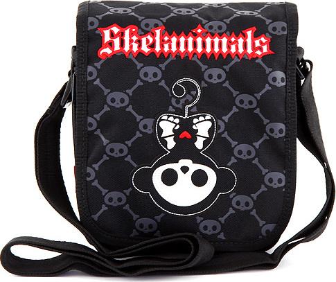 Taška do města Skelanimals černá s červeno/bílým nápisem Skelanimals
