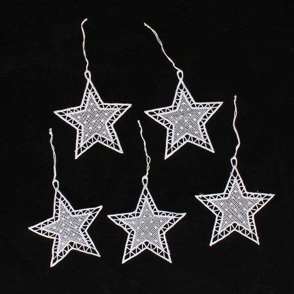 Casa de Engel Hvězdy | závěsné | háčkované | sada 5ks