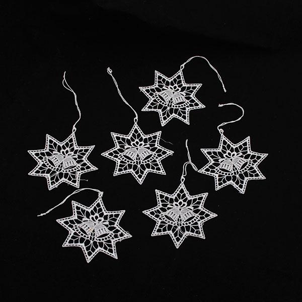 Casa de Engel Vánoční ozdoby | závěsné | háčkované | sada 6ks | dvě varianty Provedení: Hvězda