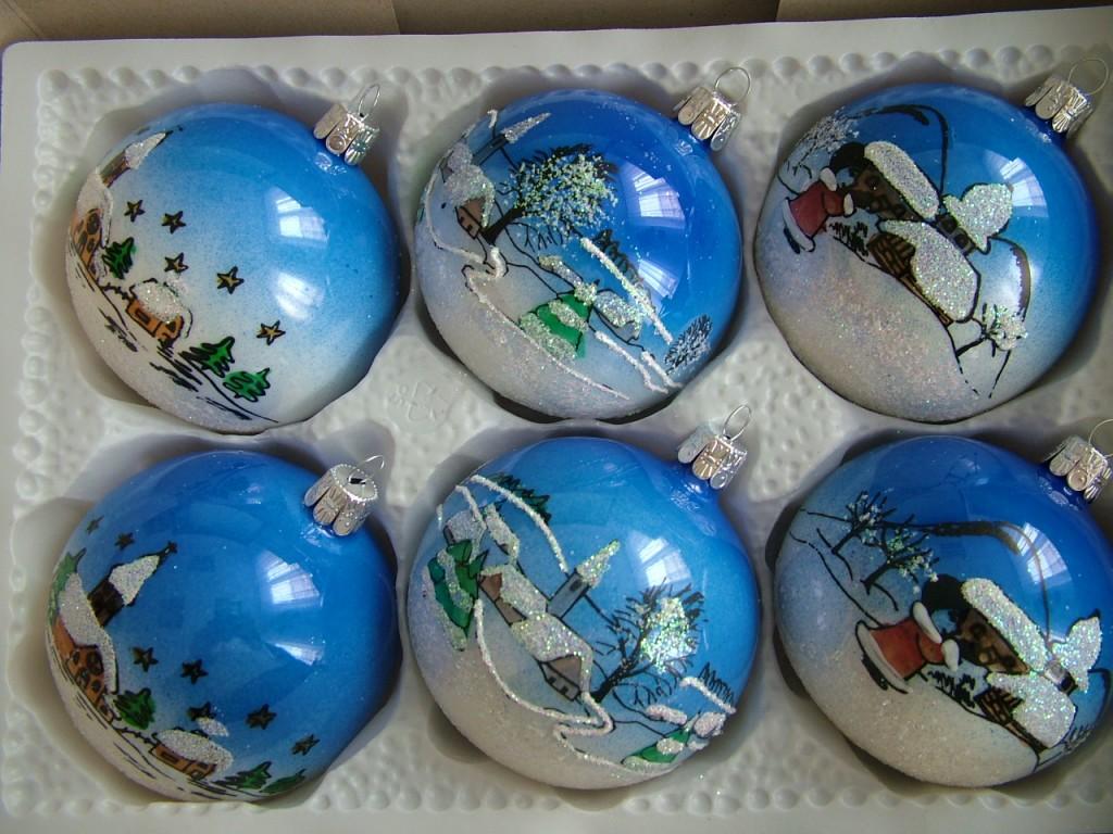 Slezská tvorba Skleněná koule | porcelán | barevná sada | vesnička