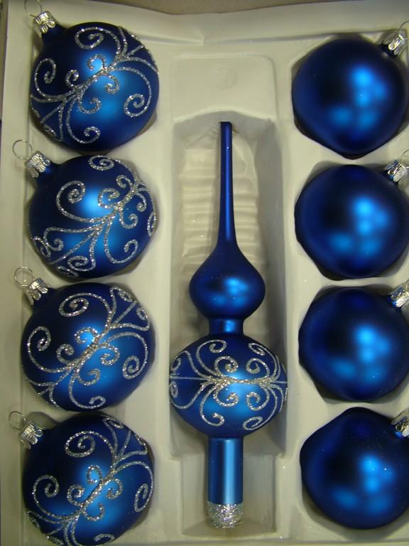 Slezská tvorba Skleněná sada | modrý mat | stříbrné spirály