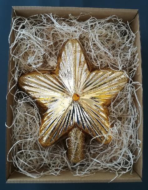 Slezská tvorba Skleněná špice hvězda | 4 barvy Barva: zlatá, Provedení: lesk