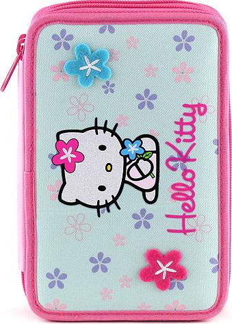 Školní penál s náplní Hello Kitty motiv květin