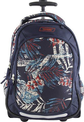 Školní batoh trolley Target Tmavě-modrý s potiskem listů, 2 kolečka, rukojeť